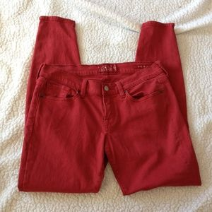 Lucky Brand Womens 6/28 Charlie Skinny Red Jeans